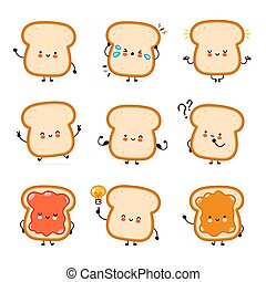 Cute funny happy bread toast character set collection. Vector flat line cartoon kawaii character illustration icon. Isolated on white background. Toast with face character mascot bundle concept