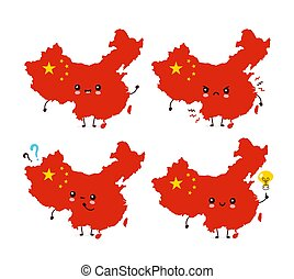 Cute funny happy China map and flag character