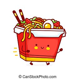 Cute funny happy delivery wok noodle box character run. Vector flat line cartoon kawaii character illustration icon. Isolated on white background.Asian food, noodle, wok box character delivery concept