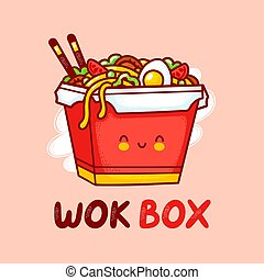 Cute funny happy wok noodle box character logo template. Vector flat line cartoon kawaii character illustration icon. Isolated on white background. Asian food, noodle, wok box character logo concept