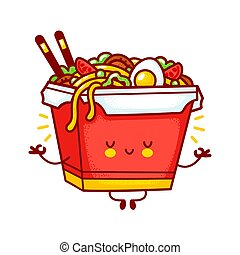 Cute funny happy wok noodle box character meditate. Vector flat line cartoon kawaii character illustration logo icon. Isolated on white background. Asian food, noodle, wok box character concept