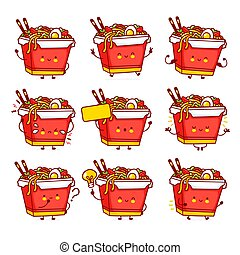 Cute funny happy wok noodle box character set collection. Vector flat line cartoon kawaii character illustration icon. Isolated on white background.Asian food, noodle, wok box character bundle concept