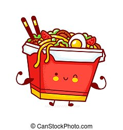 Cute funny happy wok noodle box character show muscle. Vector flat line cartoon kawaii character illustration icon. Isolated on white background. Asian food, noodle, wok box character concept