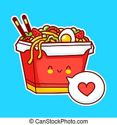 Cute funny happy wok noodle box character . Vector flat line cartoon kawaii character illustration icon. Asian food, noodle, wok box character concept