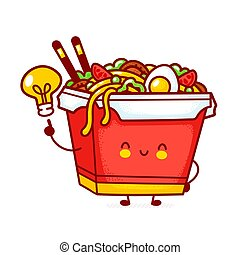 Cute funny happy wok noodle box character with idea light bulb. Vector flat line cartoon kawaii character illustration icon. Isolated on white background. Asian food, noodle, wok box character concept