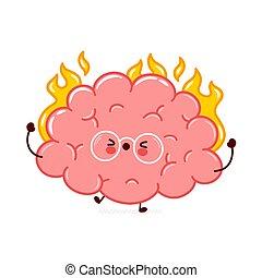 Cute funny human brain organ burn character