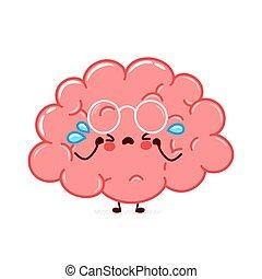 Cute funny human brain organ character cry