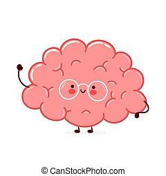 Cute funny human brain organ character