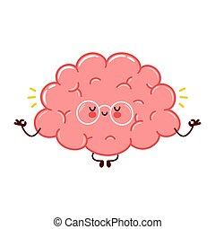 Cute funny human brain organ meditate character