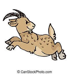 Cute funny jumping brown billy goat about to charge in naive style vector clipart. Alpine baby goat with horns. Kawaii funny farm animal illustration. Isolated livestock doodle. EPS 10.