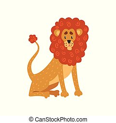 Cute funny lion cartoon character vector Illustration on a white background