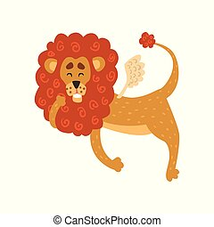 Cute funny lion cartoon character with wings vector Illustration on a white background
