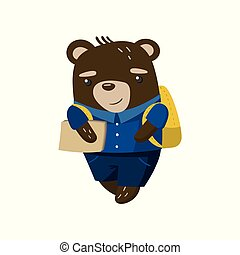 Cute funny little bear student, pupil animal in a blue school uniform, back to school concept vector Illustration