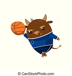 Cute funny little bull student playing basketball, pupil animal in a blue school uniform, back to school concept vector Illustration
