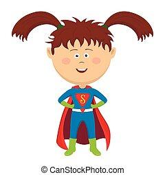 Cute funny little girl wearing superhero costume
