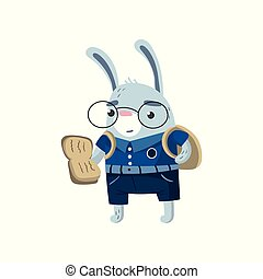 Cute funny little rabbit student reading a book, pupil animal in a blue school uniform, back to school concept vector Illustration