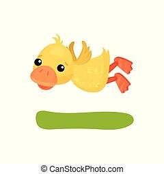 Cute funny little yellow duckling character flying vector Illustration on a white background
