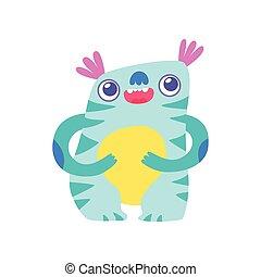 Cute Funny Monster, Adorable Alien Cartoon Character Fantastic Creature Vector Illustration