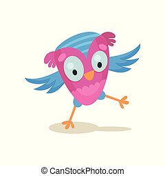 Cute funny owlet, sweet owl bird cartoon character vector Illustration on a white background