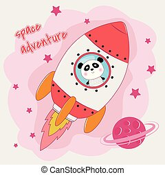 Cute funny panda astronaut flying on a rocket.