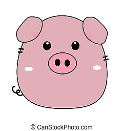 Cute funny pig isolated on white background. Flat simple...