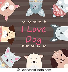 Cute, funny, pretty dog characters.