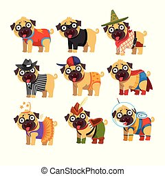 Cute funny pug dog character in colorful funny costumes set, vector Illustrations