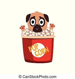 Cute funny pug dog character inside a basket of popcorn vector Illustration isolated on a white background