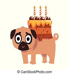 Cute funny pug dog character with a festive cake with candles on its back vector Illustration on a white background