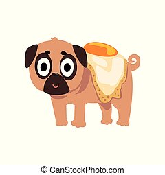 Cute funny pug dog character with a fried egg on its back vector Illustration on a white background