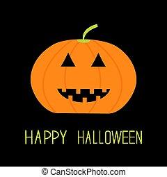 Cute funny pumpkin. Halloween card for kids. Flat design.