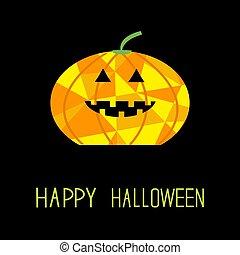 Cute funny pumpkin. Halloween card for kids. Polygonal effect.