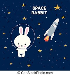 Cute funny rabbit in space. Greeting card.