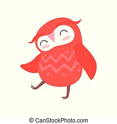 Cute funny red cartoon owlet bird character vector Illustration on a white background