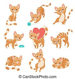Cute Funny Red Cat Character in Various Poses and Situations Set Vector Illustration