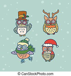 cute funny retro owl set