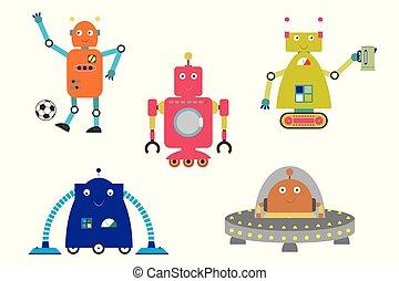 Cute funny robots set
