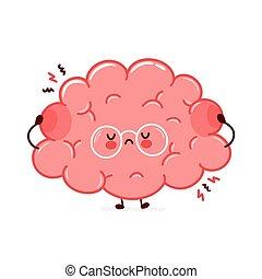 Cute funny sad human brain organ character