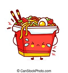 Cute funny sad wok noodle box character. Vector flat line cartoon kawaii character illustration icon. Isolated on white background. Asian food, noodle, wok box character concept