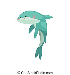 Cute funny shark cartoon character vector Illustration on a white background