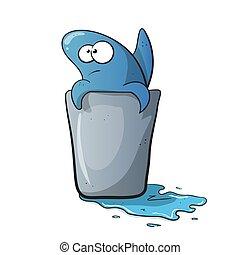 Cute, funny shark cartoon on water