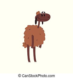 Cute funny sheep character cartoon vector illustration