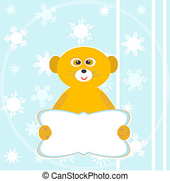 Cute funny sitting smile lemur with empty blank. winter card