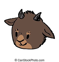 Cute funny smiling brown goat head in naive style vector clipart. Alpine baby billy goat with horns. Kawaii funny farm animal illustration. Isolated livestock doodle. EPS 10.
