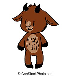 Cute funny smiling brown goat in naive style vector clipart. Alpine baby billy goat with horns. Kawaii funny farm animal illustration. Isolated livestock doodle. EPS 10.