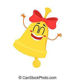 Cute, funny smiling golden school bell character with red ribbon