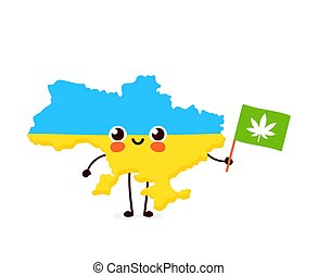 Cute funny smiling happy kawaii Ukraine map and flag character with cannabis marijuana flag. Vector cartoon character illustration icon. Ukraine marijuana weed, medical, recreation cannabis concept