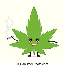 Cute funny smiling happy marijuana weed