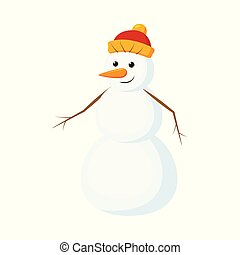 Cute, funny snowman with carrot nose in warm knitted hat, cartoon vector illustration isolated on white background. Cartoon snowman character, full length portrait