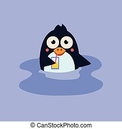 Funny Swimming Penguin with a Coctail. Vector Illustration